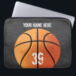 "Basketball (textured) laptop sleeve<br><div class=""desc"">A straight-forward basketball design for hoopsters everywhere,  from eBrushDesign.</div>"