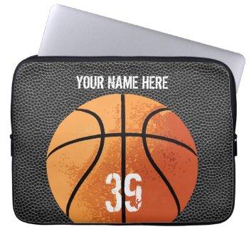 Basketball (textured) Laptop Sleeve by eBrushDesign at Zazzle