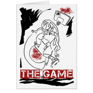 Basketball The Game Inks Black White Red Greeting Card
