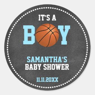 Basketball Theme Baby Shower Chalkboard Boy Classic Round Sticker