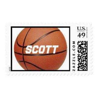 Basketball theme name stamp
