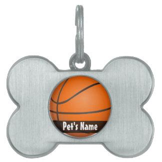 Basketball Theme Pet Name Tag