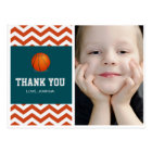 Basketball theme thank you postcard for boys