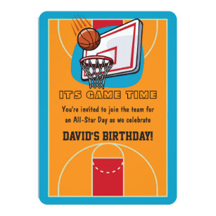 Basketball Themed Birthday Invitations