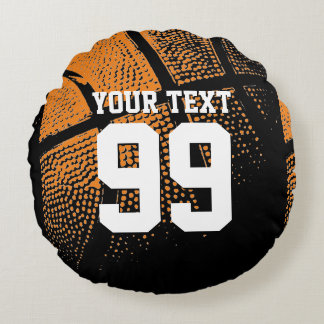 Basketball throw pillow with sports jersey number