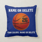 Basketball Throw Pillows Your Colors 3 Text Boxes