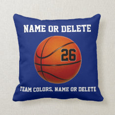 Basketball Throw Pillows Your Colors 3 Text Boxes at Zazzle