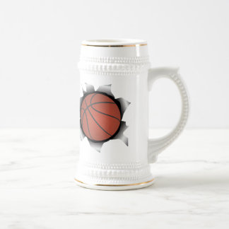 basketball thru metal sheet 18 oz beer stein