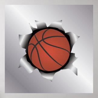 basketball thru metal sheet poster