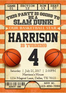 basketball birthday invitations zazzle