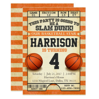 basketball ticket birthday party invitation invite - Basketball Party Invitations