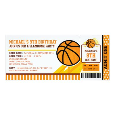 Basketball Birthday Invitations Ticket Invitation Free Thank You Card Included Themed Party Wording