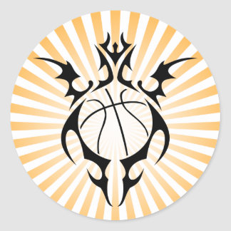 basketball. tribal. classic round sticker