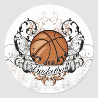Basketball Tribal Classic Round Sticker