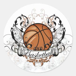 Basketball Tribal Classic Round Sticker