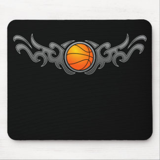 Basketball Tribal Flames Grey Mousepad