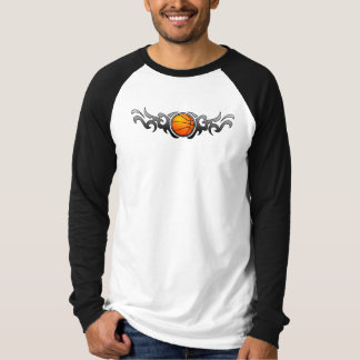 Basketball Tribal Flames Grey T-Shirt