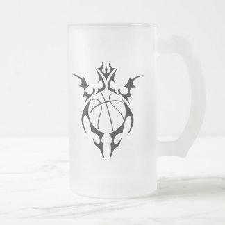 basketball. tribal. frosted glass beer mug