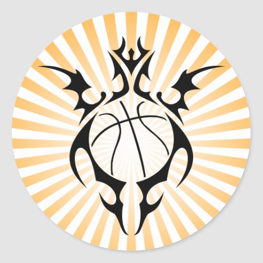 basketball. tribal. round sticker