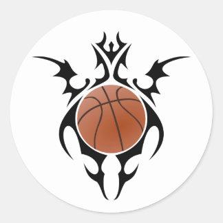 basketball. tribal. classic round sticker