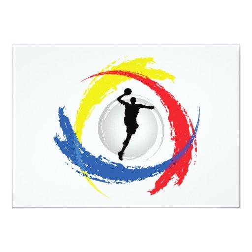 "Basketball Tricolor Emblem 5"" X 7"" Invitation Card"