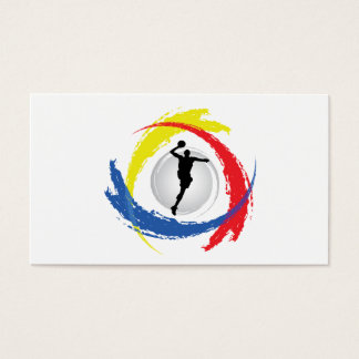 Basketball Tricolor Emblem Business Card