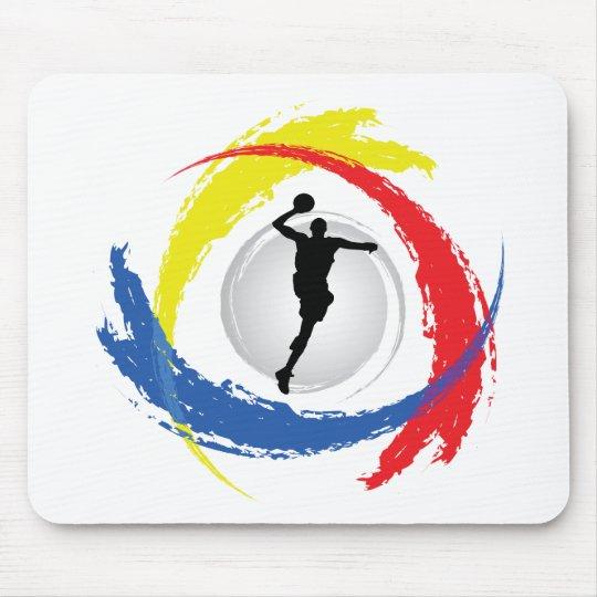 Basketball Tricolor Emblem Mouse Pad