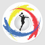 Basketball Tricolor Emblem Round Stickers