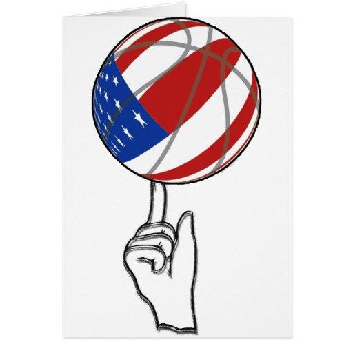 BASKETBALL USA FLAG PATRIOTIC CARD