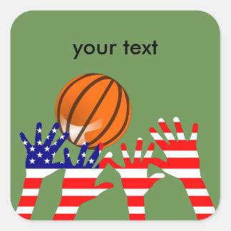 Basketball USA Square Sticker
