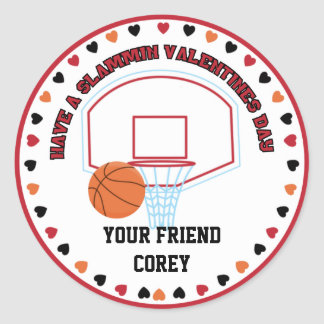 Basketball Valentines Classroom Personalized Name Classic Round Sticker