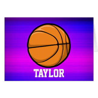 Basketball; Vibrant Violet Blue and Magenta Stationery Note Card