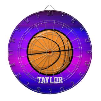 Basketball; Vibrant Violet Blue and Magenta Dartboard With Darts