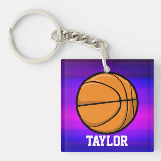 Basketball; Vibrant Violet Blue and Magenta Double-Sided Square Acrylic Keychain