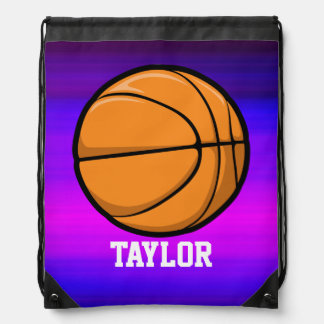 Basketball; Vibrant Violet Blue and Magenta Drawstring Bag