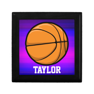 Basketball; Vibrant Violet Blue and Magenta Jewelry Boxes
