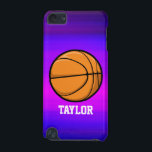 "Basketball; Vibrant Violet Blue and Magenta iPod Touch 5G Case<br><div class=""desc"">Cool, colorful kid&#39;s basketball player, coach, orange and black sports design on pink, purple, violet blue, magenta, fuchsia color pattern. Perfect gift for baby, toddler, kids, children, teens, or adults! Personalized the design by adding a child&#39;s name or custom text with athletic, sporty look sports white font. Visit our store,...</div>"