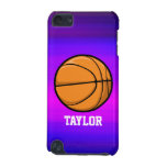 Basketball; Vibrant Violet Blue and Magenta iPod Touch 5G Case<br><div class='desc'>Cool, colorful kid&#39;s basketball player, coach, orange and black sports design on pink, purple, violet blue, magenta, fuchsia color pattern. Perfect gift for baby, toddler, kids, children, teens, or adults! Personalized the design by adding a child&#39;s name or custom text with athletic, sporty look sports white font. Visit our store,...</div>
