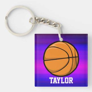 Basketball; Vibrant Violet Blue and Magenta Keychain