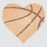 basketball vintage heart stickers