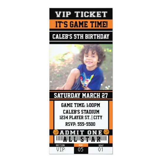 BASKETBALL VIP TICKET PHOTO Party Invitation