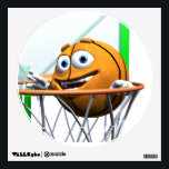 """Basketball Wall Sticker<br><div class=""""desc"""">A happy orange cartoon basketball drops through the basketball hoop and scores two points.</div>"""