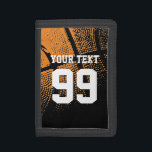 """Basketball wallets with custom jersey number<br><div class=""""desc"""">Basketball wallets with custom jersey number. Personalizable sports gift for thanking coach,  sporty boys and girls. Cool atheltic gift idea for men,  women and teen kids. Personalizable with high school team name,  funny quote,  slogan or monogram initials. In black and orange or other colors.</div>"""