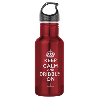 BASKETBALL WATER BOTTLE DRIBBLE ON.  cl Red wt