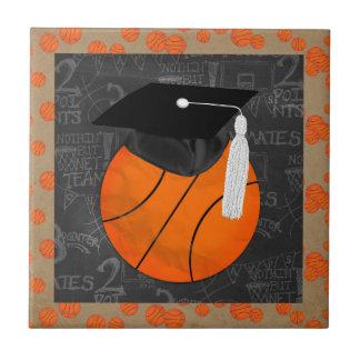 Basketball Wearing Graduation Cap, Basketball Word Ceramic Tile