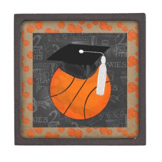 Basketball Wearing Graduation Cap, Basketball Word Keepsake Box