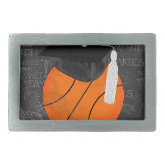 Basketball Wearing Graduation Cap, Basketball Word Rectangular Belt Buckle