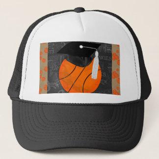 Basketball Wearing Graduation Cap, Basketball Word Trucker Hat