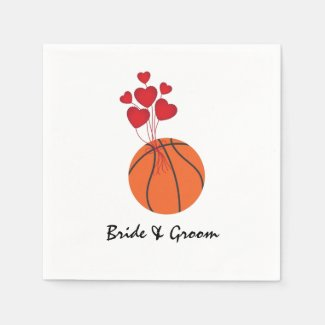 Basketball wedding with love red hearts napkins