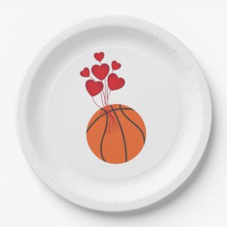 Basketball wedding with love red hearts napkins paper plate